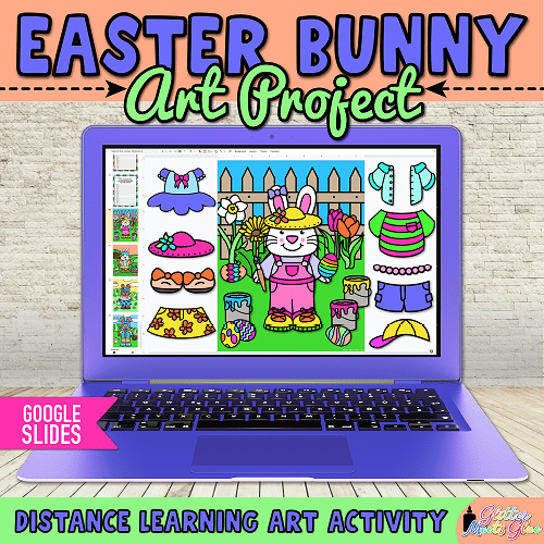 digital easter bunny craft for kids distance learning