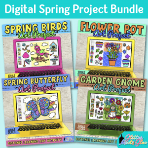 digital spring art project bundle on google slides for kids distance learning