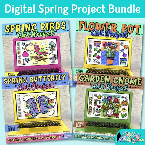 digital spring art project bundle on google slides for kids distance learning
