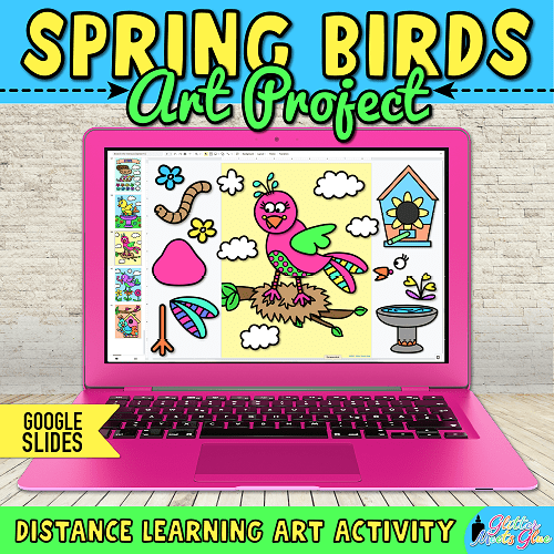 digital spring bird art project for kids hybrid learning