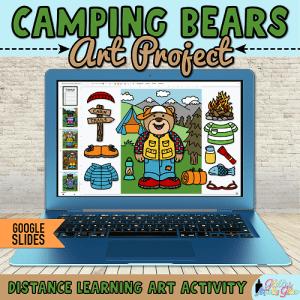digital camping bear art project for kids hybrid learning