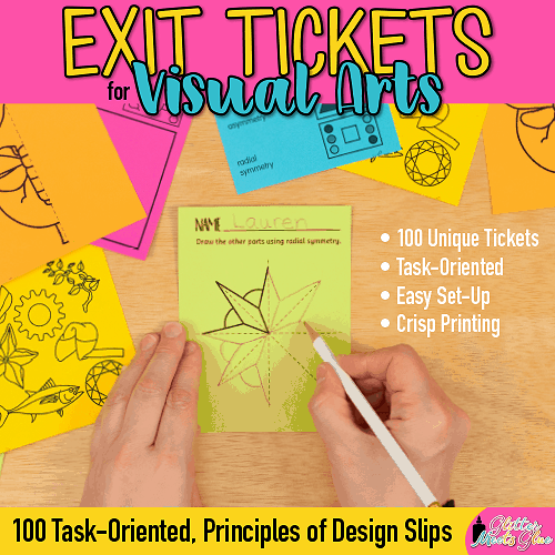 visual arts exit tickets for kids learning about principles of design