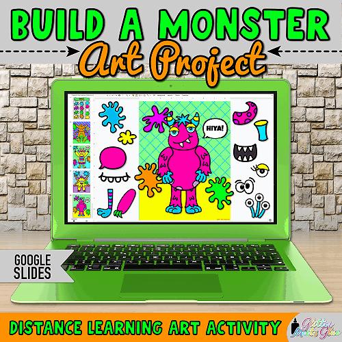 digital halloween monster project for kids on google slides