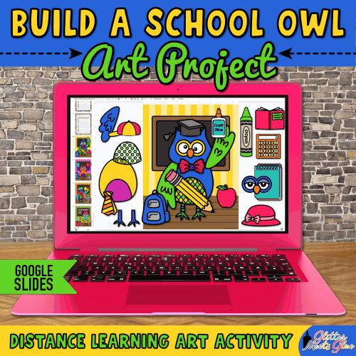 digital school owl art project for hybrid learning kids