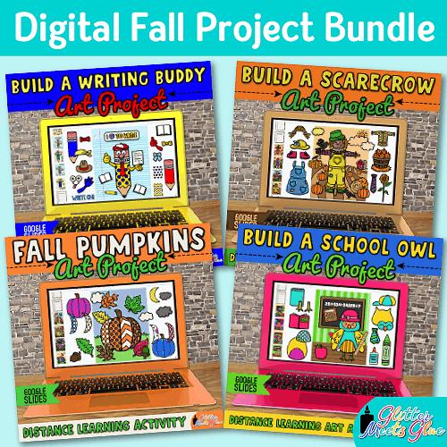 digital fall art project bundle on google slides for kids distance learning