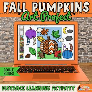 digital fall pumpkin art project for kids distance learning