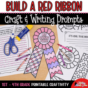 red ribbon week coloring craft for kids
