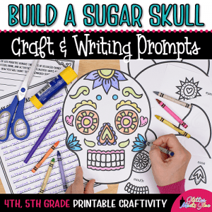 sugar skull coloring craft day of the dead project and writing prompts for kids