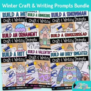 winter craft bundle and writing prompts for elementary kids